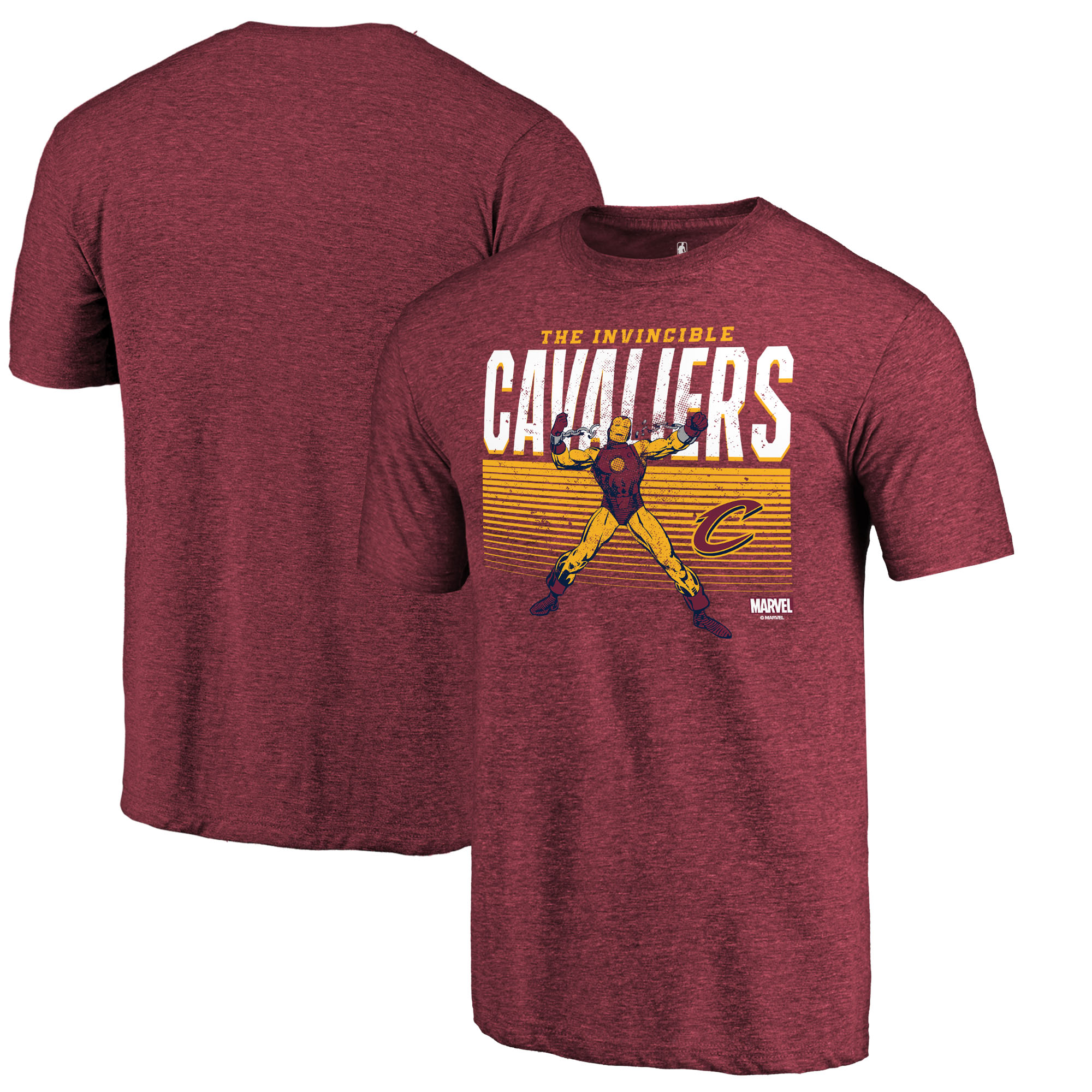 Cleveland Cavaliers Fanatics Branded Marvel Iron Man Invincible Tri-Blend T-Shirt - Heathered Wine