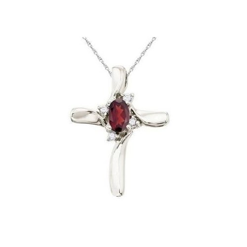 Seven Seas Jewelers Garnet and Diamond Cross Necklace Pendant 14k White Gold by Brand New