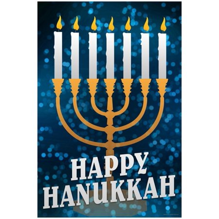 Happy Hanukkah Menorah Holiday Poster - 13x19](Make Menorah)
