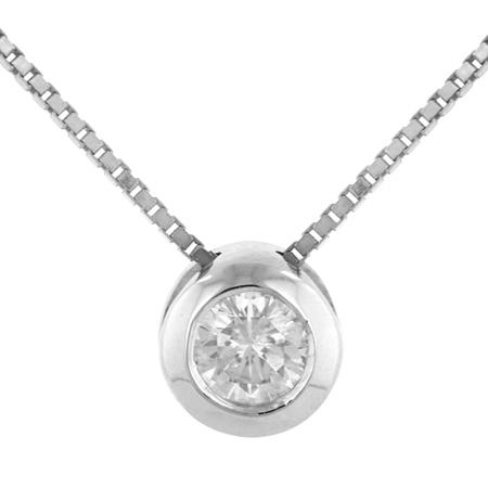 14K White Gold 0.09ct Regular Bezel Set Round Diamond Pendant Necklace by