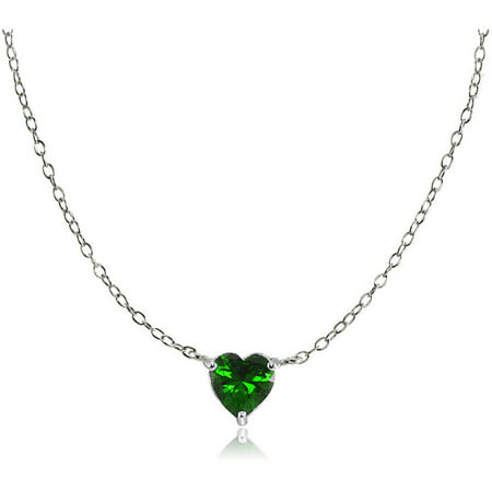 Simulated Emerald Sterling Silver Small Dainty Heart Choker Necklace