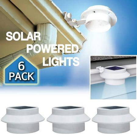 6 Pack Outdoor Solar Powered LED Gutter Light Fence Roof Gutter Garden Yard Wall (Gutter Light)