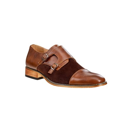 UV Signature Men's Monk Strap Cap Toe Dress - Mens Brown Croco Strap