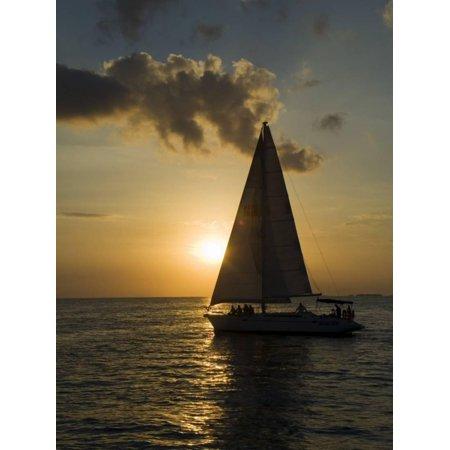 Sailboats at Sunset, Key West, Florida, United States of America, North America Print Wall Art By Robert (Key West Sailboat)