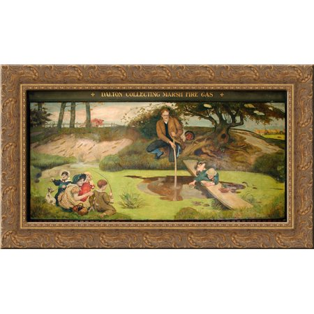 Dalton Collecting Marsh Fire Gas 24x16 Gold Ornate Wood Framed Canvas Art by Ford Madox Brown