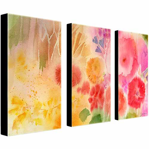 "Trademark Art ""Wood Flower"" Canvas Art by Sheila Golden, 3-Piece Panel Set, 16x32"