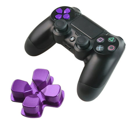 Chrome D-pad Bullet Buttons Aluminum Custom Metal Replacement Buttons Spare Parts Accessories for PS4 Mods Controllers-Purple