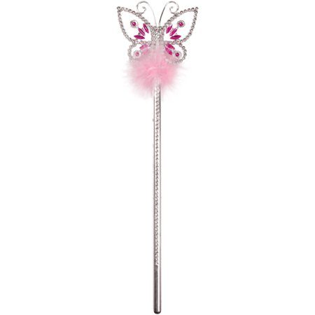 Princess Wands Wholesale (Star Power Butterfly Princess Wand, Silver Pink, One Size)