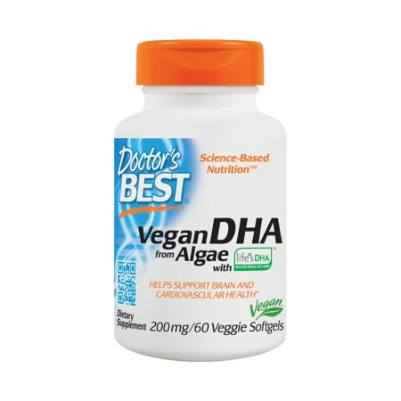 Doctor's Best Vegan DHA From Algae, Non-GMO, Vegan, Gluten Free, 200 mg, 60