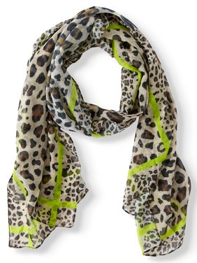 ColorPlay Women's Leopard Print Oblong Scarf With Neon Boarder