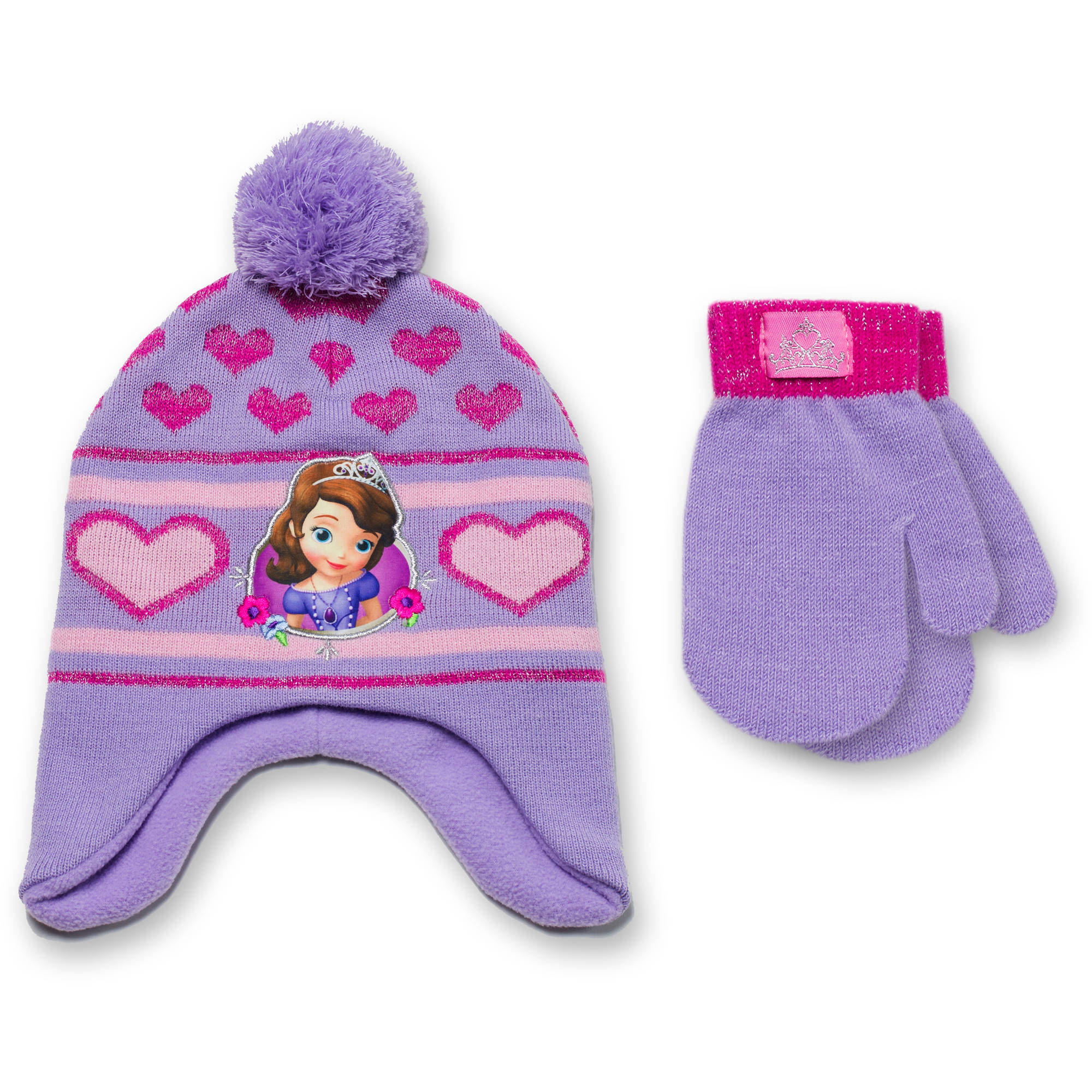 Sofia the First Baby Toddler Girl License Peruvian Hat and Mitten Set