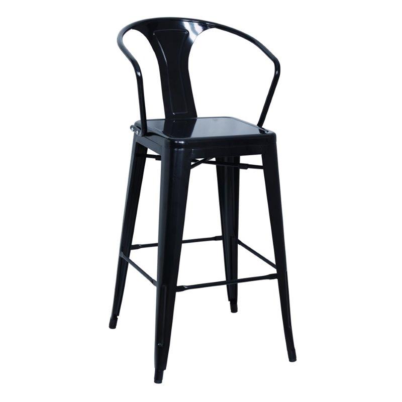 Chintaly Galvanized Steel Bar Stool in Black