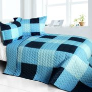 Shipshape 3PC Cotton Vermicelli-Quilted Patchwork Plaid Quilt Set-Full/Queen Size
