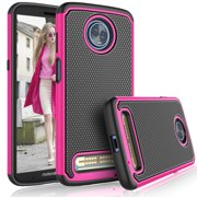 Cases For Motorola Moto Z4 Play / Z3 Play / XT 1929, Tekcoo [Tmajor] Shock Absorbing [Hot Pink] Hybrid Rubber Silicone & Plastic Bumper Grip Cute Sturdy Hard Cases Cover