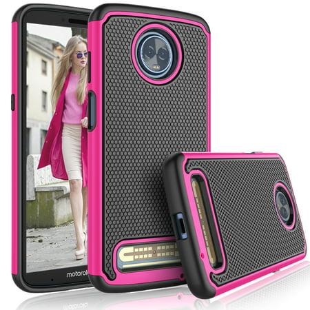 Cases For Motorola Moto Z4 Play / Z3 Play / XT 1929, Tekcoo [Tmajor] Shock Absorbing [Hot Pink] Hybrid Rubber Silicone & Plastic Bumper Grip Cute Sturdy Hard Cases Cover Hot Pink Hard Case Cover