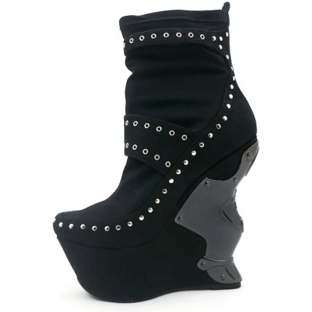 Sonya Blade Boots (Women's 'Blade' Black Suede Curved Wedge Ankle)