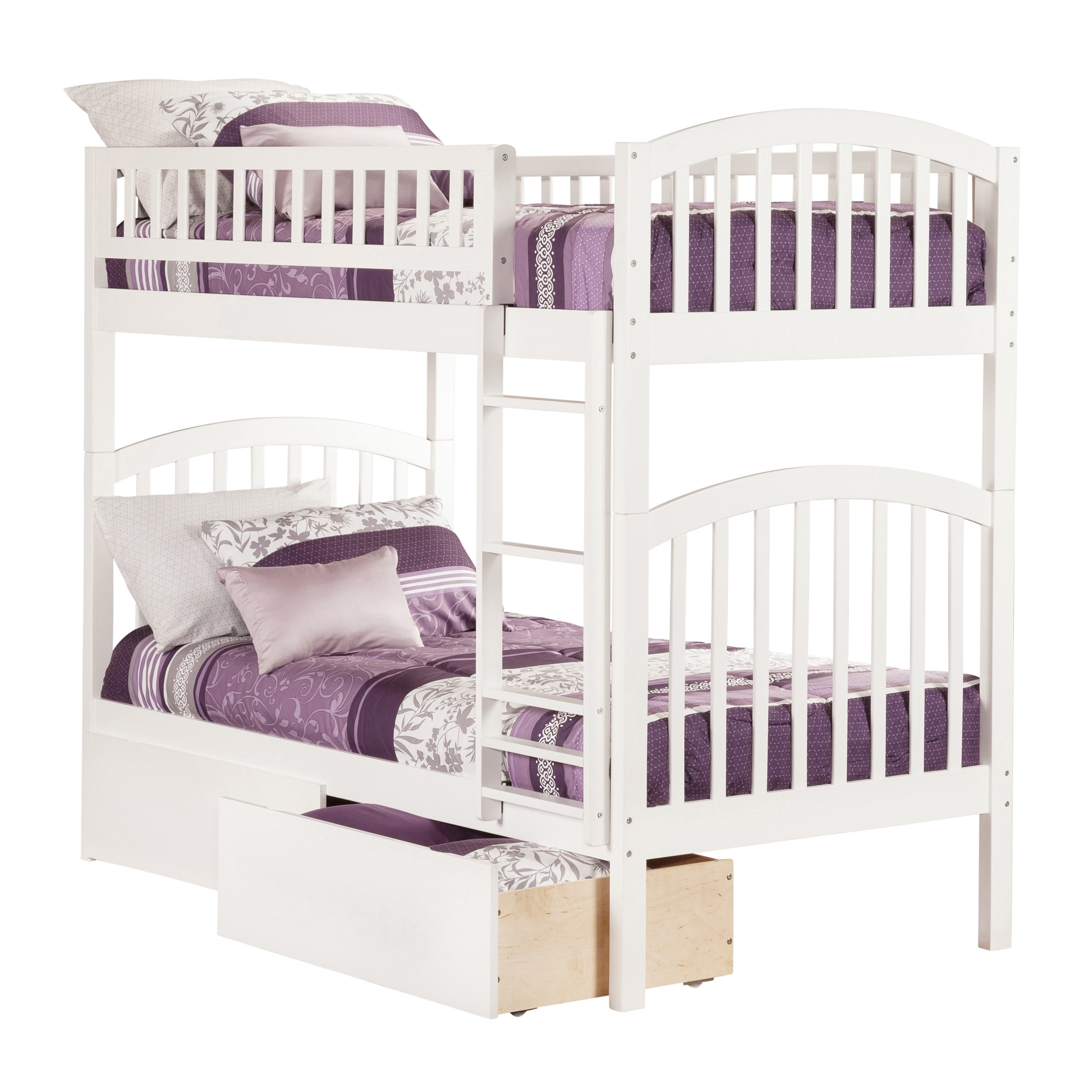 Atlantic Furniture Atlantic Richland White Rubberwood Twin-over-twin Bunk Bed With 2 Urban Drawers