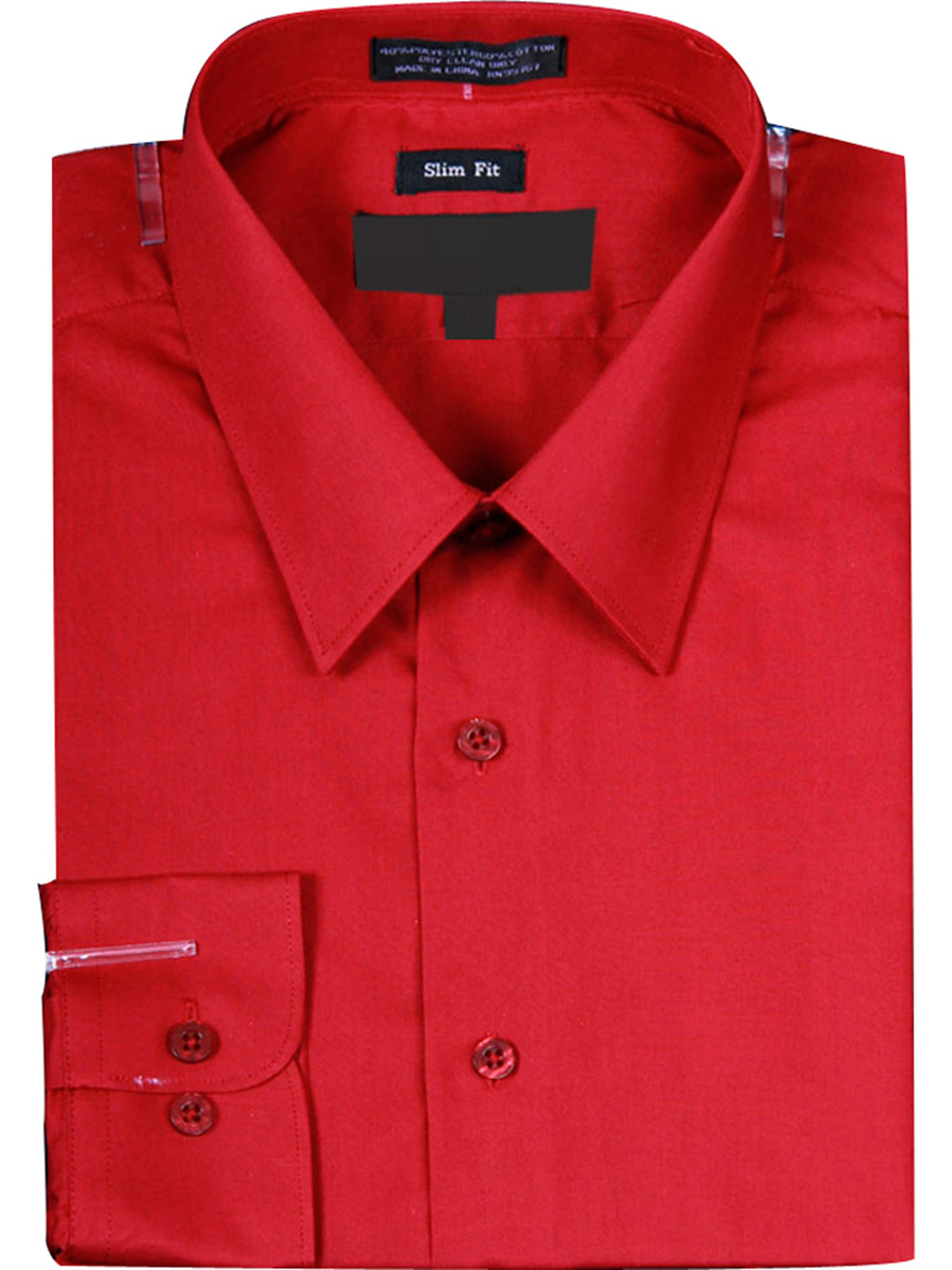 Men's Slim Fit Basic Solid Color Dress Shirt with Button Cuff