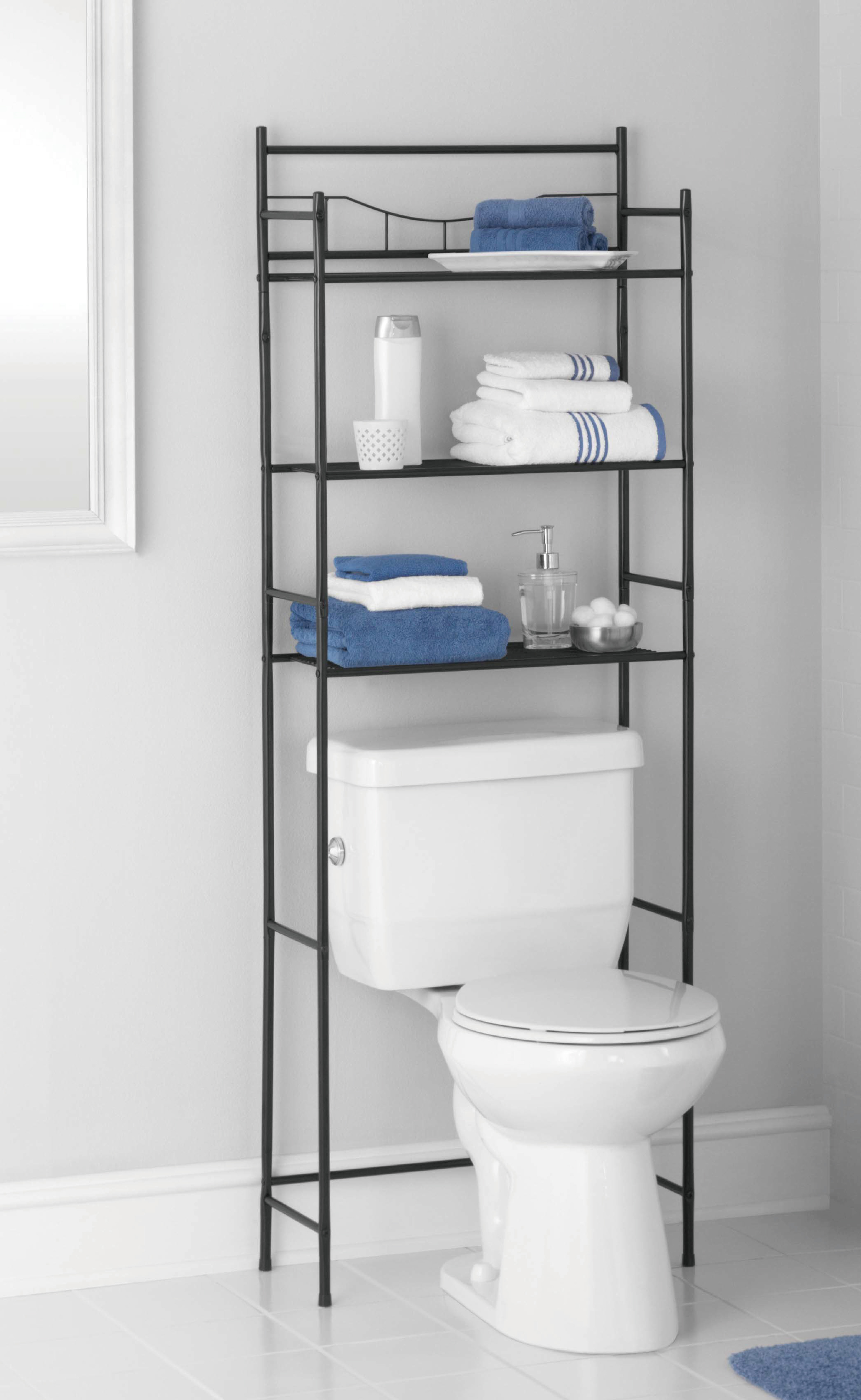 Mainstays 3-Shelf Bathroom Space Saver, Oil-Rubbed Bronze/Black ... for Bathroom Shelves As Seen On Tv  18lpqdu