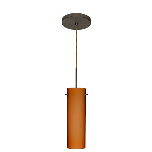 Besa Lighting 1BT-493080 Copa 1 Light Cord-Hung Pendant with Amber Matte Glass S