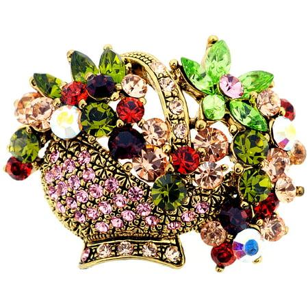 Mutlicolor Crystal Flower Basket Pin Swarovski Crystal Flower Pin Brooch