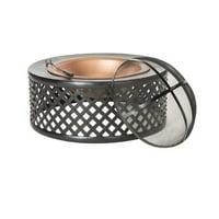 "Safavieh Jamaica 32"" Diameter Outdoor Fire Pit and Accessories, Copper/Black"