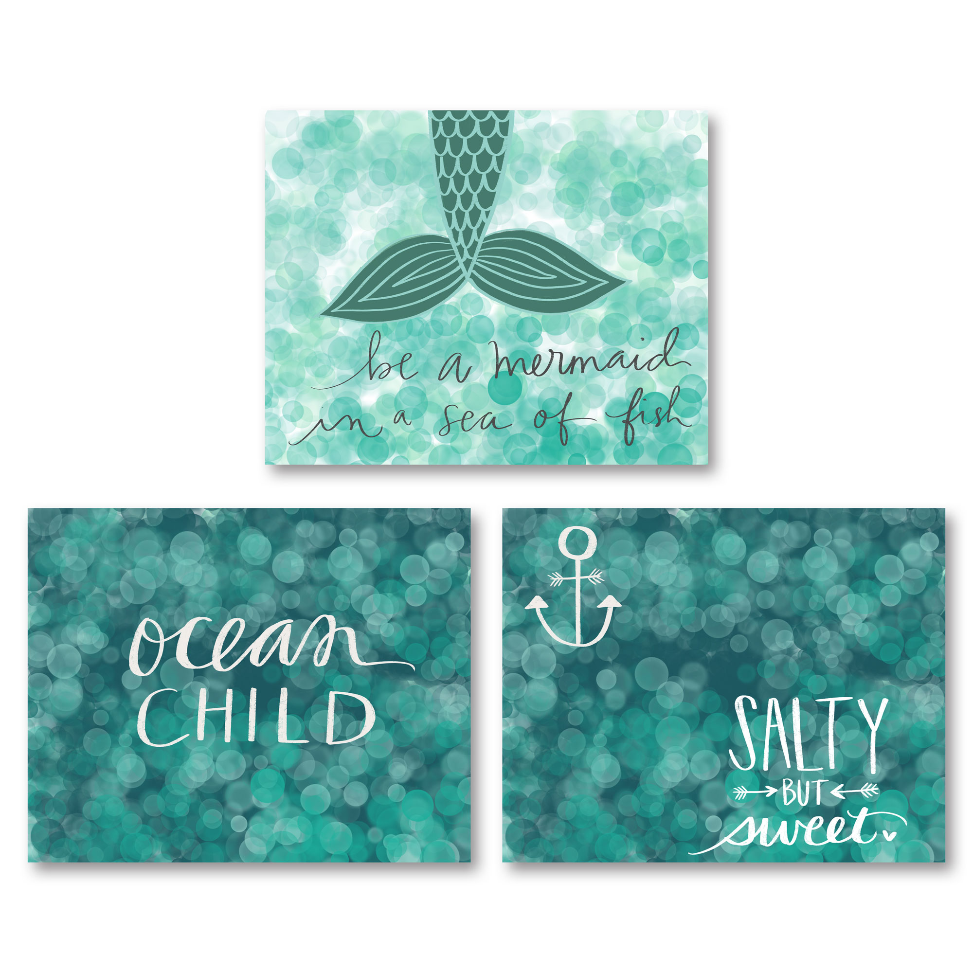 "Fun Teal ""Be A Mermaid In A Sea Of Fish, ""Ocean Child"" and ""Salty And Sweet"" Set; Three 14x11in Unframed Paper Posters"