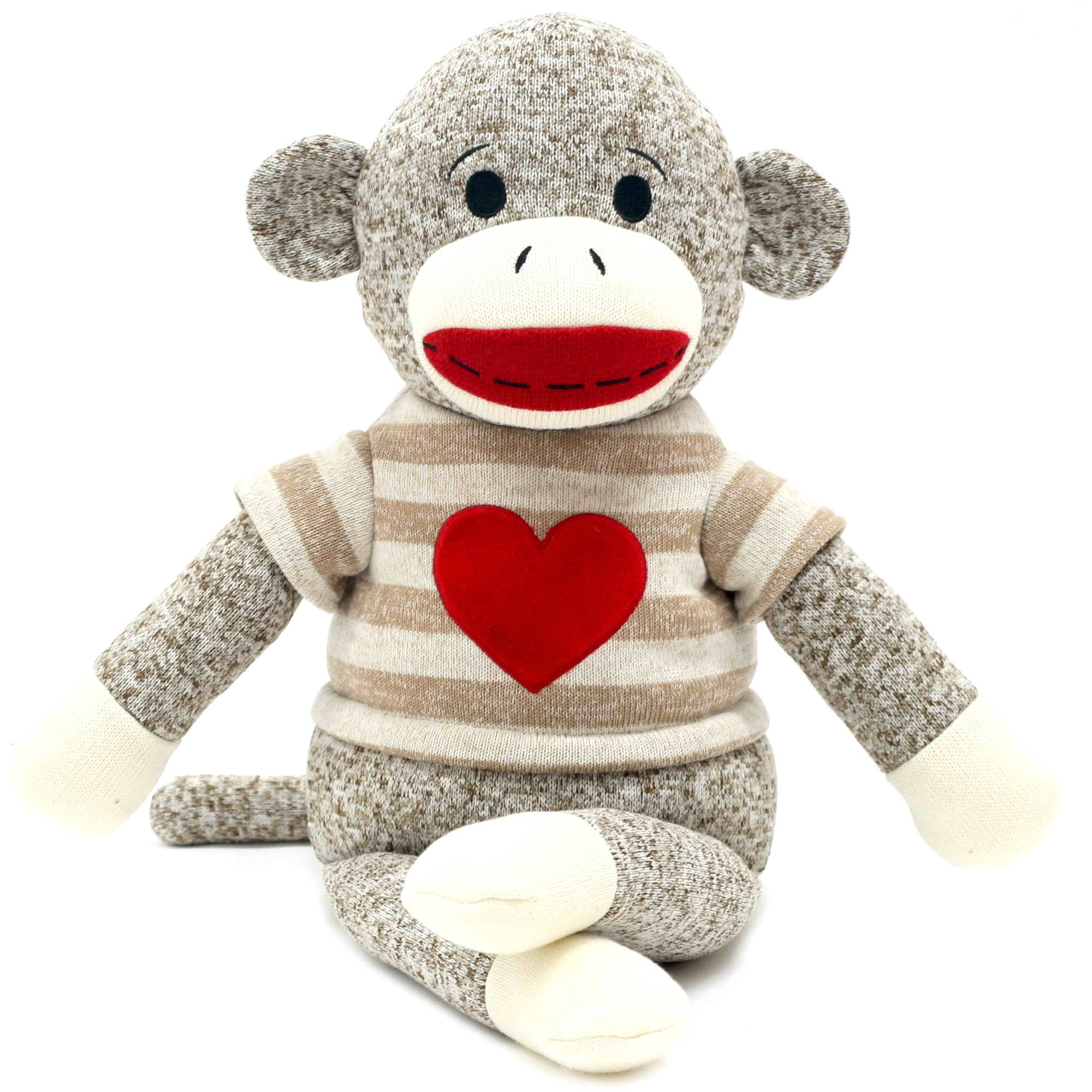 "Valentine 14"" Super Cute Sock Monkey with Red Heart Embroidered"