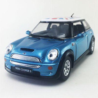 "5"" Kinsmart Mini Cooper S British Flag Diecast Model Toy 1:28 Blue"