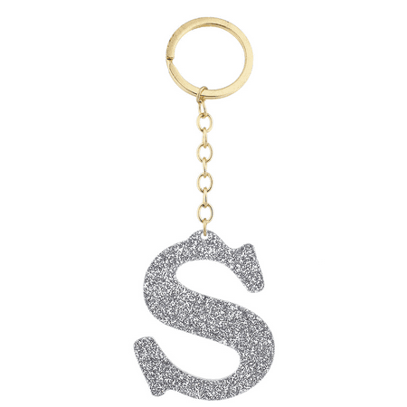 Lux Accessories Gold Tone And Silver Glitter Capital S Initial Key Ring Keychain