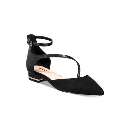 Aldo Womens Acemma Pointed Toe Ankle Strap Slide Flats, Black, Size 7.5 (Aldo Flats Black)