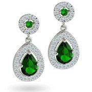 CZ Green Bridal Teardrop Earrings Silver Plated