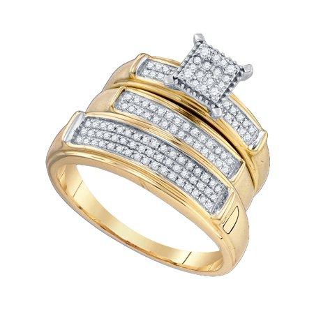 Gold Wedding Band Set - 10kt Yellow Gold His & Hers Round Diamond Cluster Matching Bridal Wedding Ring Band Set 3/8 Cttw