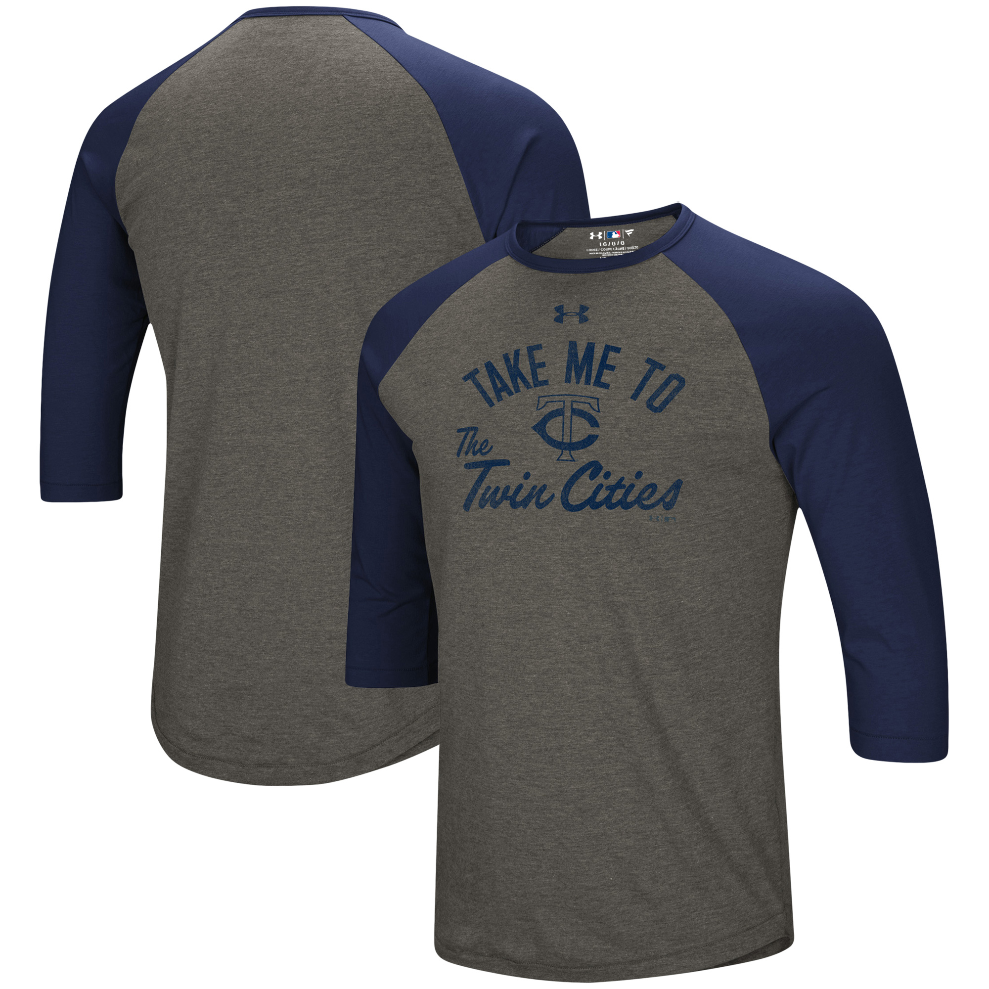 Minnesota Twins Under Armour Heritage Performance Tri-Blend Raglan 3/4-Sleeve T-Shirt - Heathered Gray/Navy