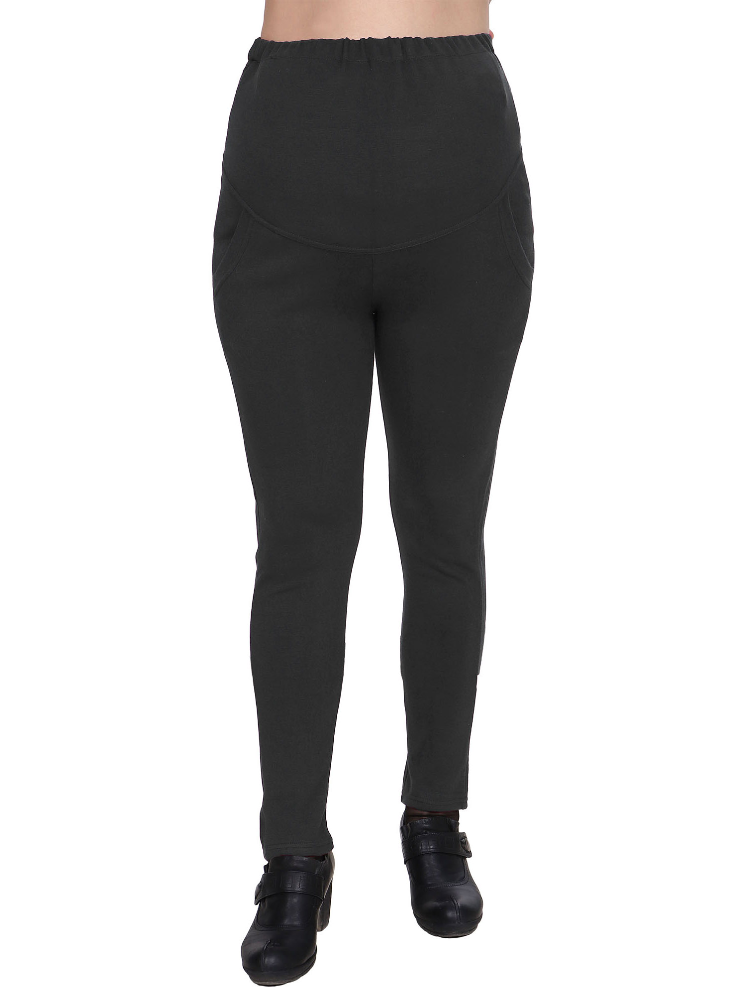Harcadian High Waist Adjustable Stretchy Maternity Legging Pants,Grey