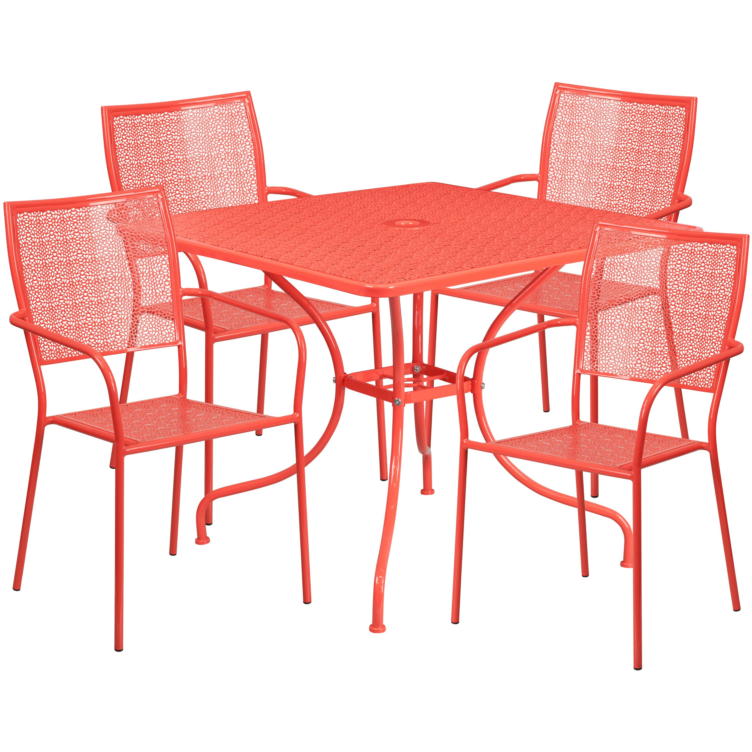 Flash Furniture 35.5'' Square Indoor-Outdoor Steel Patio Table Set with 4 Square Back Chairs Multiple Colors