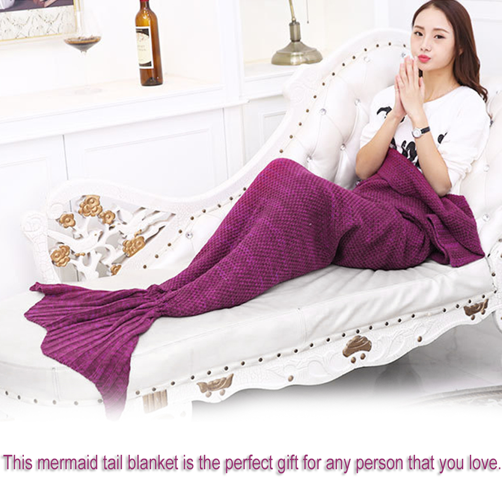 Mermaid Blanket Handmade Knitted Sleeping Wrap TV Sofa Mermaid Tail Blanket Purple... by