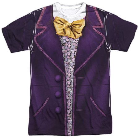 Willy Wonka And The Chocolate Factory Costume (Front/Back Print) Mens Sublimation Polyester Shirt (White, X-Large) - Willy Wonka Outfit