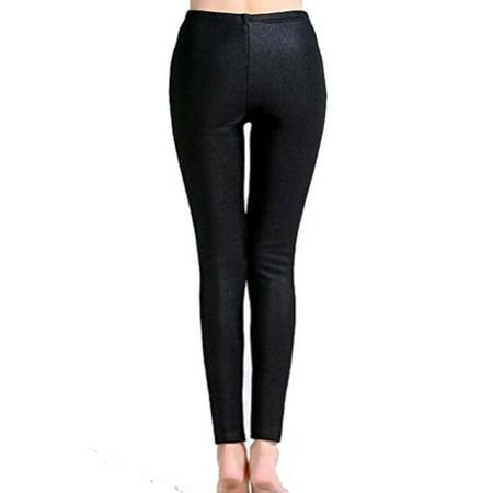SAYFUT Womens Basic Leggings for Thick Pearl Velvet Warm Soft Fit Full Length Pants Black Trouser