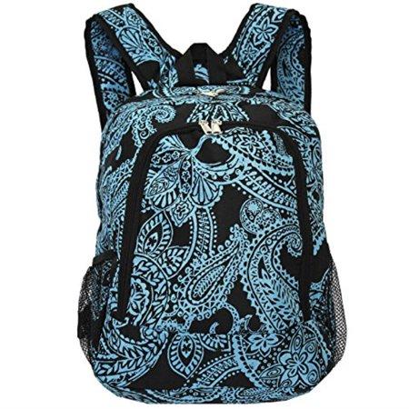 world traveler multipurpose backpack 16-inch, black blue paisley, one size