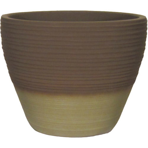 """Better Homes and Gardens Prescott 15"""" Decorative Resin Planter, Olive by Grosfillex"""
