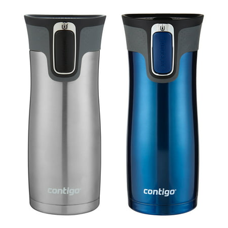 Contigo AUTOSEAL West Loop Vacuum-Insulated Stainless Steel Travel Mug with Easy-Clean Lid, 16 oz., Monaco & Stainless Steel, 2-Pack Nissan Stainless Steel Travel Mug