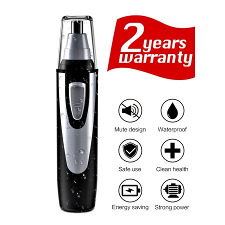 - 【Gifts for Him】Ear and Nose Hair Trimmer Clipper - Professional Painless Eyebrow and Facial Hair Trimmer for Men and Women, Battery-Operated, IPX7 Waterproof Dual Edge Blades for Easy Cleansing