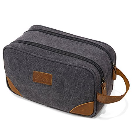 Mens Bathroom Travel Bag Grooming Shaving Bags for Men Dopp Kits Vintage Canvas Leather Dob Kit Toiletry Hygiene Bag Double Zipper Compartments for Traveling Kemy's, Grey, Large, College Student Gift - image 1 de 1