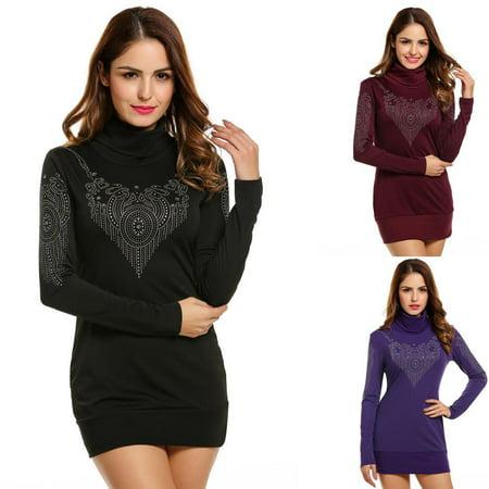 BIG CLEARANCE !!!Women Dress Sparkle Glitzy Turtleneck Long Sleeve ... 67ac2f495d91