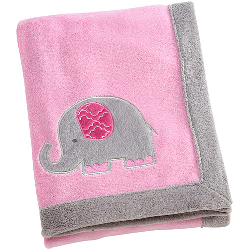 Little Bedding by Nojo Elephant Time Applique Coral Blanket, Pink