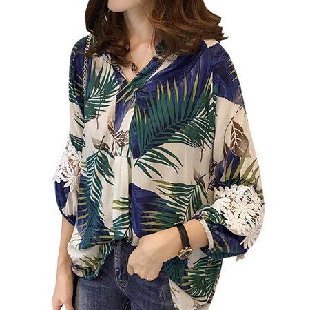 Funcee - Funcee Plus Size Women Summer Lace Stitching Printed Lantern  Sleeve Office Shirts Blouse - Walmart.com 6ba83c3f00e0