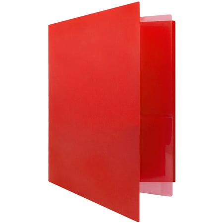 JAM Paper Heavy Duty Plastic Multi Pocket Folders, 4 Pocket, Red, 2 Folders/pack