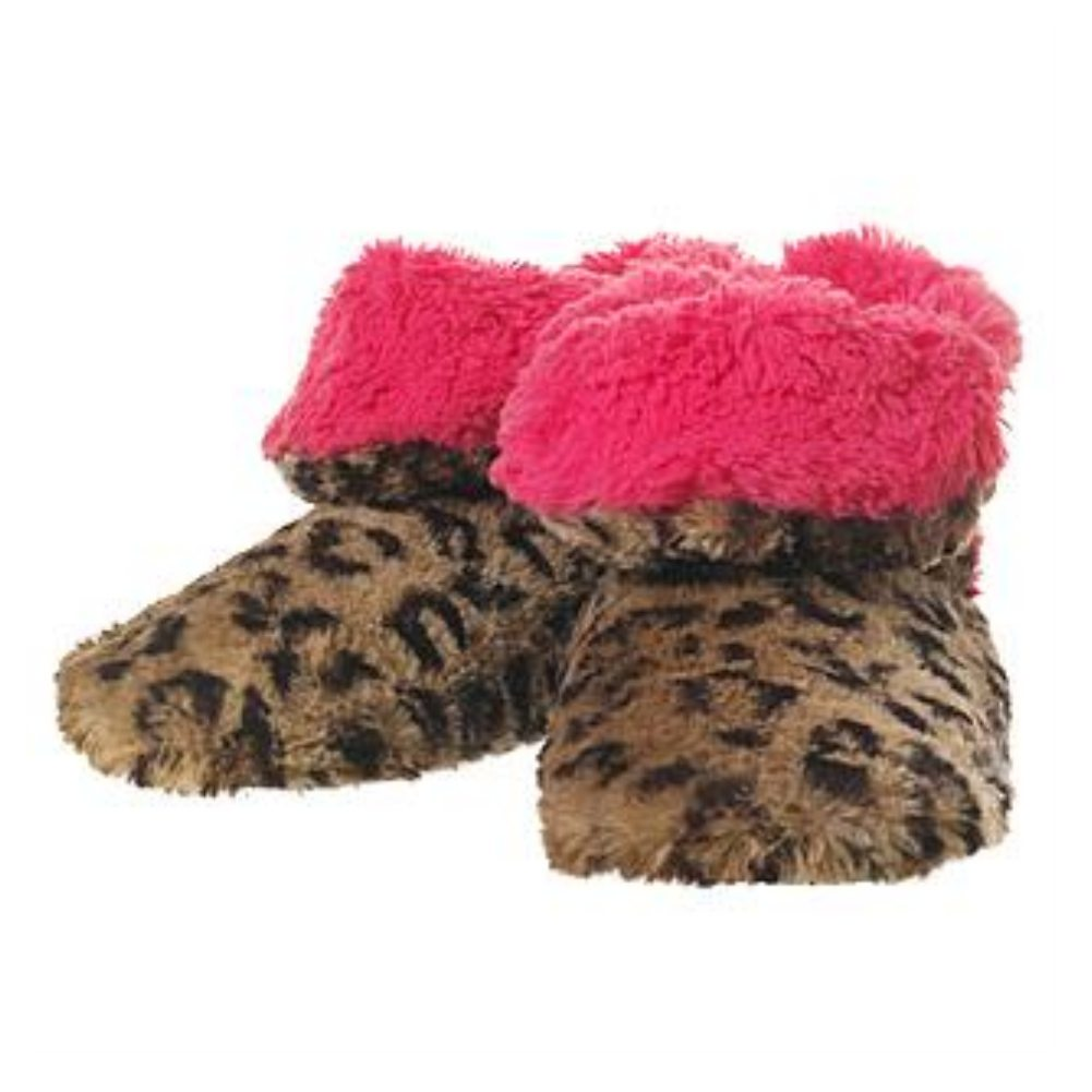 Dearfoams Womens Brown & Pink Leopard Print Faux Fur Bootie Slippers Boots 5-6
