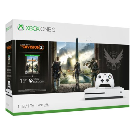 Microsoft Xbox One S 1TB Tom Clancy's The Division 2 Console Bundle, White,